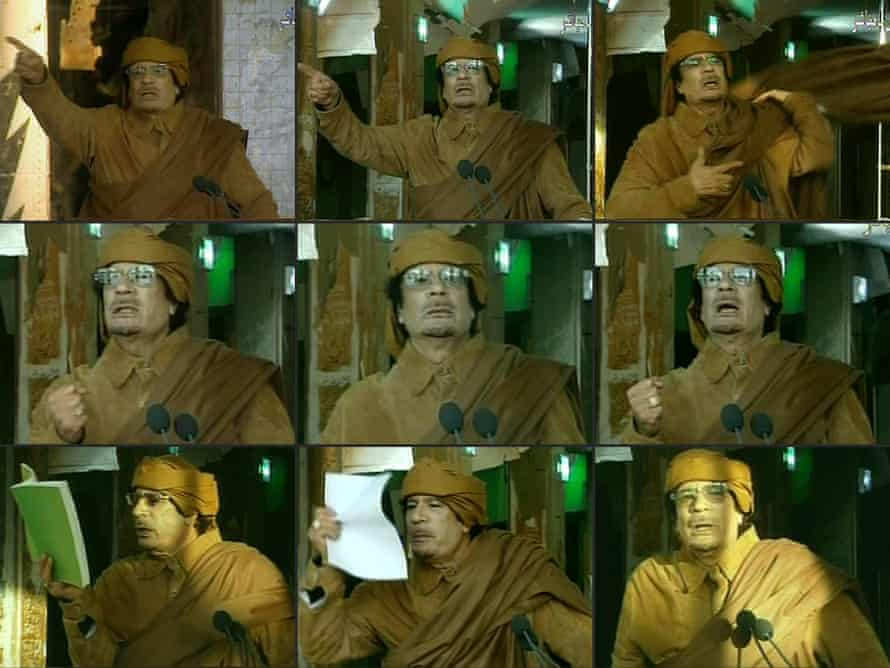 Gaddafi on state television in February 2011.