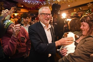 Labour party leader Jeremy Corbyn meets supporters during a campaign event. Britain will go to the polls on December 12, 2019 to vote in a pre-Christmas general election