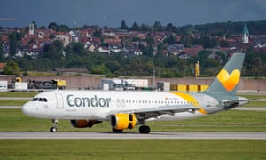 A Condor Airbus A320 lands at Stuttgart airport, Germany.