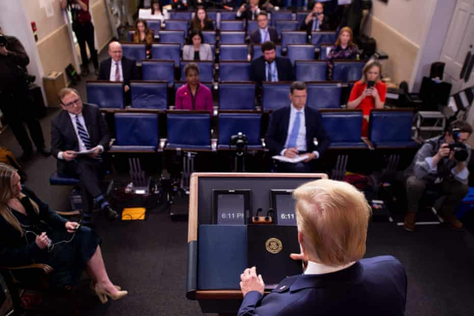 'Due to social distancing, there were only two dozen or so reporters in the White House press briefing room.'
