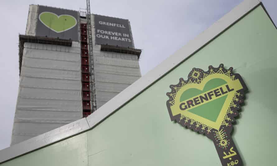 Grenfell Tower covered with hoardings