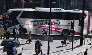 A Terravision coach near Liverpool Street station in London.