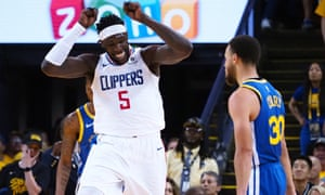 LA Clippers forward Montrezl Harrell celebrates after a dunk against the Golden State Warriors