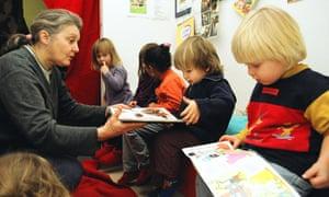 Children reading in a nursery school