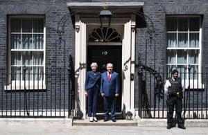 London, England Prime Minister Theresa May greets Israel's Prime Minister Benjamin Netanyahu at Downing Street