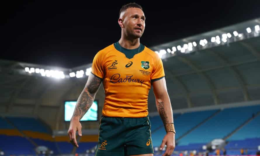 Quade Cooper of the Wallabies celebrates winning the Rugby Championship match between the South Africa Springboks and the Australian Wallabies at Cbus Super Stadium