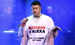 Puerto Rican rapper Bad Bunny performs on The Tonight Show in February.