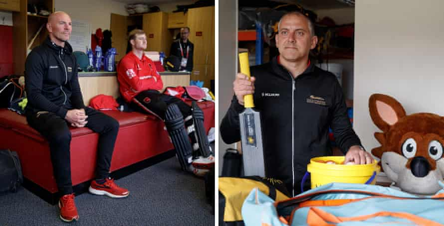 Left: Paul Nixon, head coach of Leicestershire County Cricket Club, watches the game in the home dressing room. Right: Mark Barber, Leicestershire's community manager