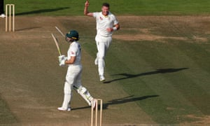 Peter Siddle celebrates after taking the wicket of Tim Paine