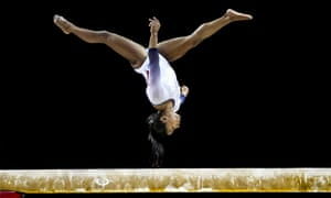 Simone Biles in action at The Superstars of Gymnastics at London's O2 Arena