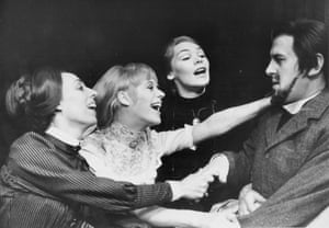 With Marianne Faithfull, Avril Elgar and Glenda Jackson in a scene from the play Three Sisters, at the Royal Court Theatre, London, 1967.