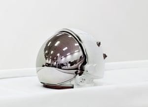 A space helmet, called an Extravehicular Visor Assembly at the John F Kennedy Space Center, Florida