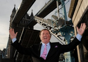 Celebrating being given the Freedom of the City of London by single-handedly raising Tower Bridge in 2009