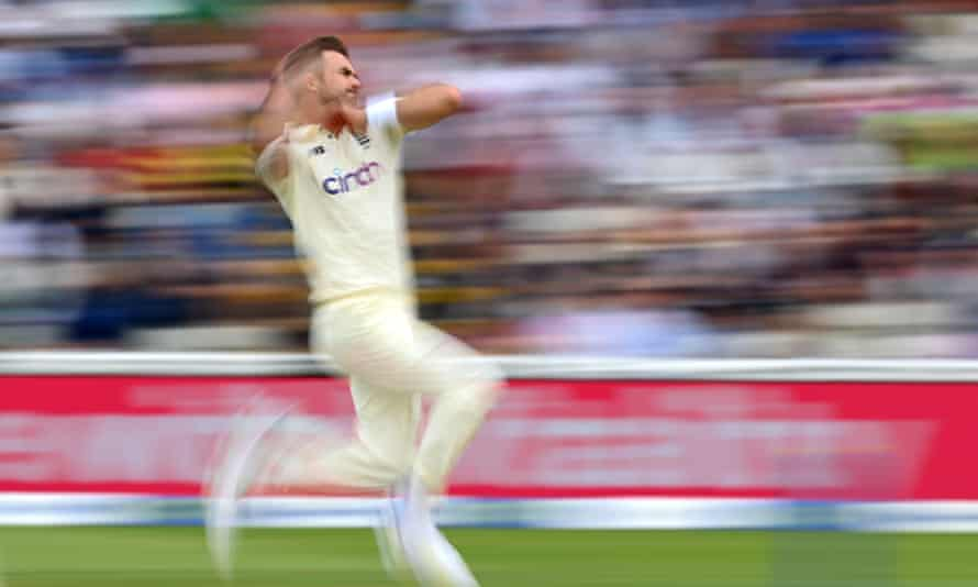 Jimmy Anderson bowls during day two of the second Test between England and New Zealand at Edgbaston.