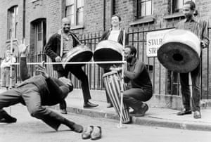 Street limbo … The Irwin Clement Caribbean steel band in London, 1963.