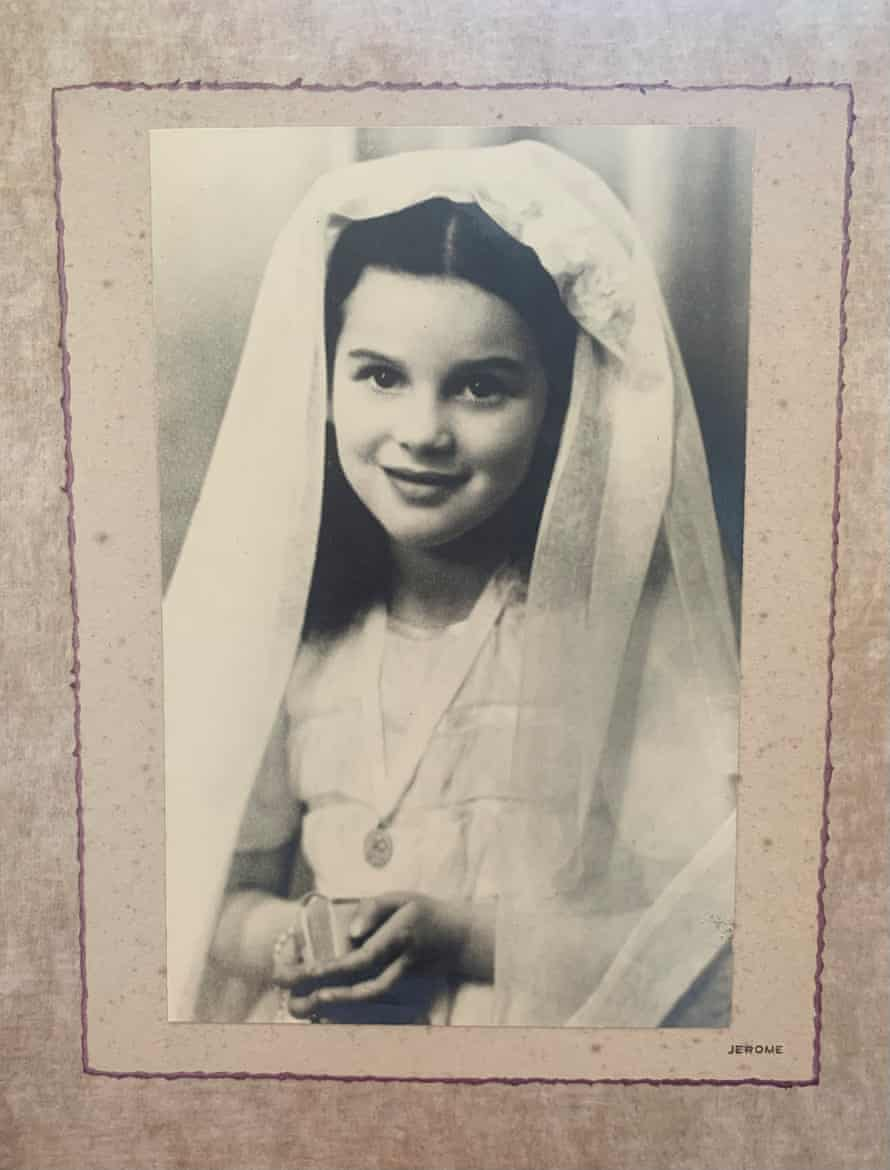 Esther Freud's mother on her holy communion, aged seven, in 1949.