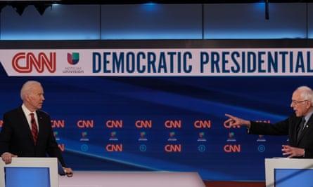 Joe Biden and Bernie Sanders debate in Washington DC Sunday night.