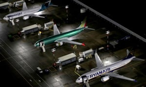 Aerial photos showing Boeing 737 Max airplanes parked at Boeing Field in Seattle, Washington.