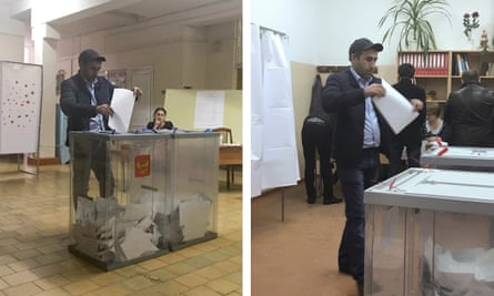 A voter in the presidential election appears to cast votes in separate polling stations in Ust-Djegutain, southern Russia,