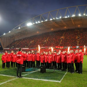 """The Munster Rugby Supporters Club choir sing their traditional song """"Stand Up And Fight"""" just before the teams come out."""