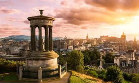 Edinburgh skyline from Calton Hill at sunset