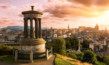 Edinburgh skyline's from Calton Hill at sunset.