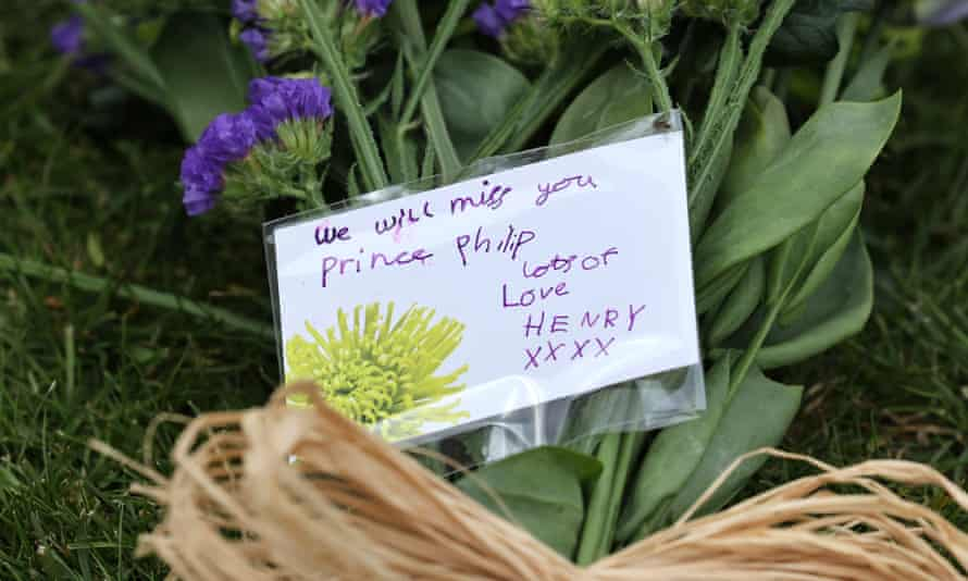 Note on flowers reading: 'We will miss you Prince Philip, lots of love Henry xxxx'