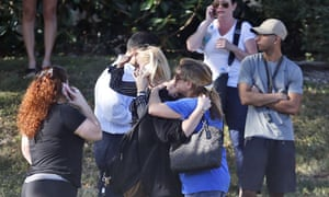 Family members waited for news of students at Marjory Stoneman Douglas high school in Parkland, Florida.