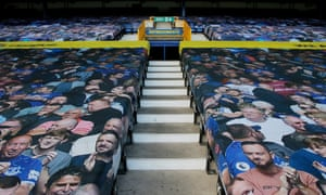 Pictures of Everton fans adorn the Gwladys Street end at Goodison Park for last week's Merseyside derby.