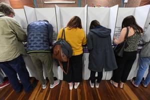 Voters at St Kilda primary school in Melbourne.