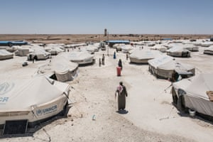 Under a constant temperature of 45-50C, the Ain Issa camp houses about 4,500 refugees, mainly from Raqqa