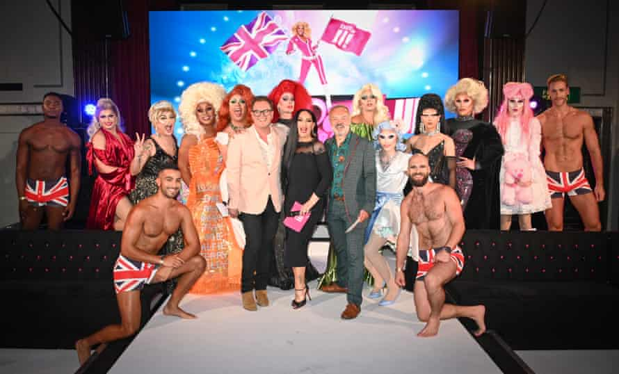 Alan Carr, Michelle Visage, Graham Norton, judges of RuPaul's Drag Race UK season one, with contestants.