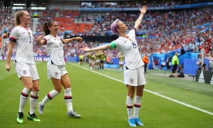 Megan Rapinoe celebrates with Alex Morgan and Samantha Mewis after scoring against the Netherlands at Stade de Lyon, France.
