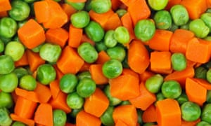 Cooked peas and diced carrots
