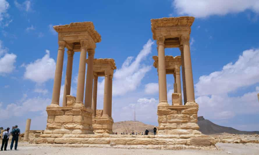 The ancient tetrapylon in Palmyra, photographed in 2008.