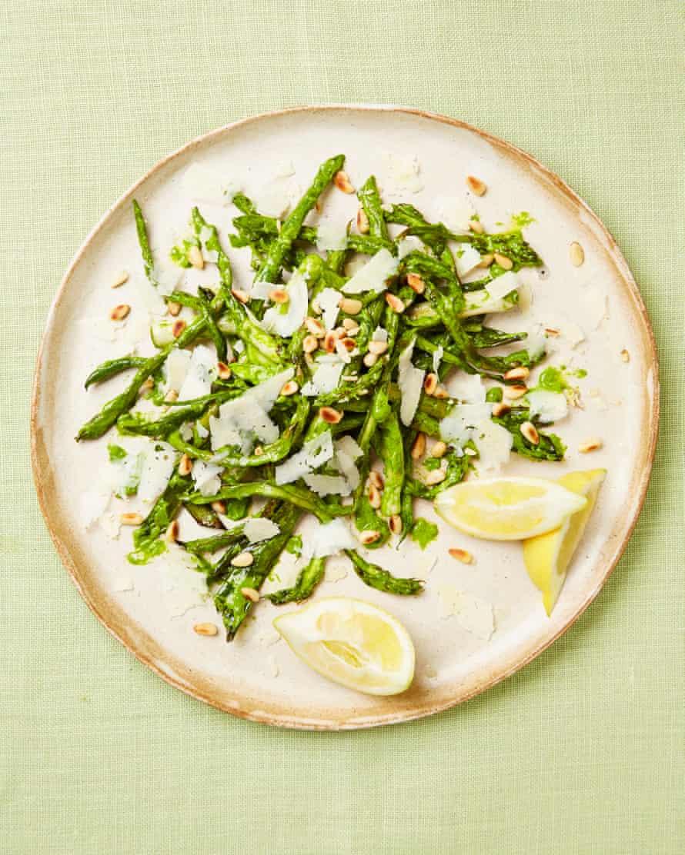 Yotam Ottolenghi's roast asparagus, leeks and beans with sorrel salsa