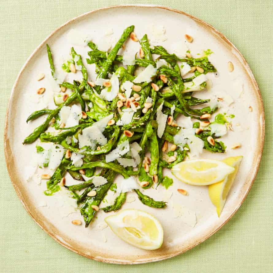 Roasted asparagus, leeks and beans with sorrel salsa