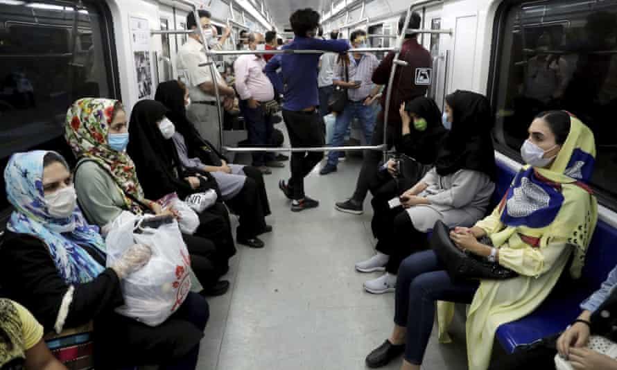 Train passengers in Tehran.