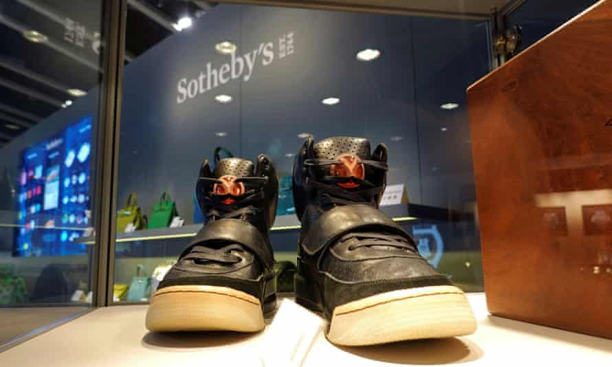 Nike Air Yeezy sneakers, designed by Kanye West, on display in Hong Kong before sale at Sotheby's.