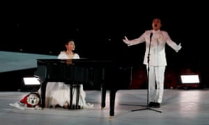 Pianist Yeaji Kim and singer Hee Sang Lee perform during the closing ceremony