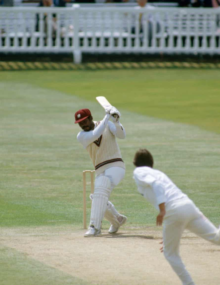Gordon Greenidge batting for West Indies during his innings of 214 in the 2nd Test match between England and West Indies at Lord's Cricket Ground, London on 3 July 1984. The bowler for England is Neil Foster.