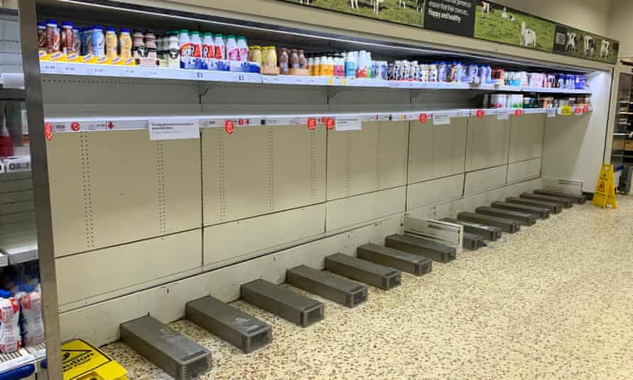 Empty shelves in a Tesco supermarket in Chorley, UK