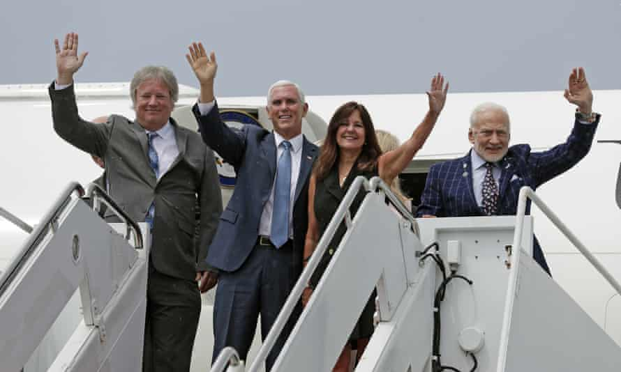 From left: Neil Armstrong's son Rick, Mike Pence, Karen Pence and Buzz Aldrin at Kennedy Space Center.