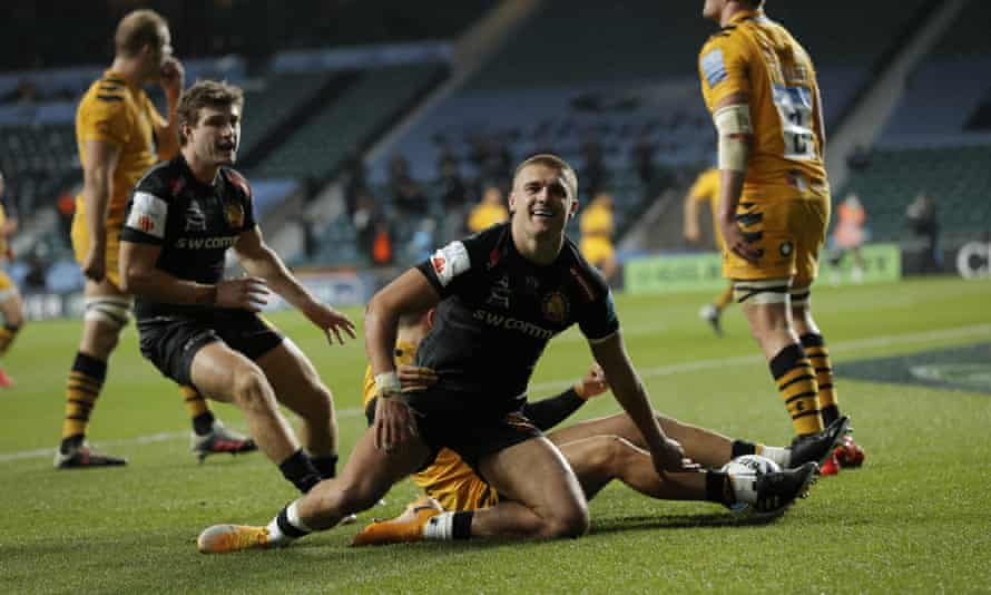 Henry Slade scores for Exeter in last season's Premiership final against Wasps. The play-off system has livened up the title race; could it work for relegation?
