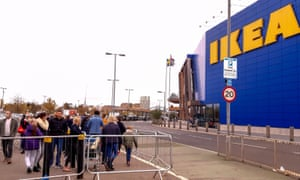 outside of Ikea in Greenwich with people queueing