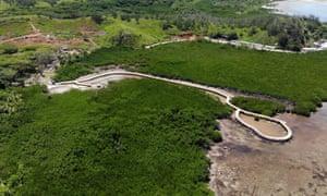 A walkway built on Malolo Island in Fiji.