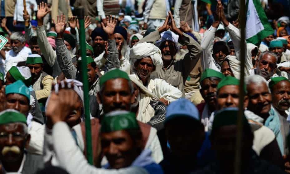 Indian farmers protesting against proposed land reforms in New Delhi.