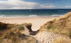 Empty sandy beach at Hopeman
