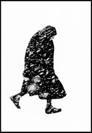 Old woman in a snowstorm , Hamburg, Germany, 1954.