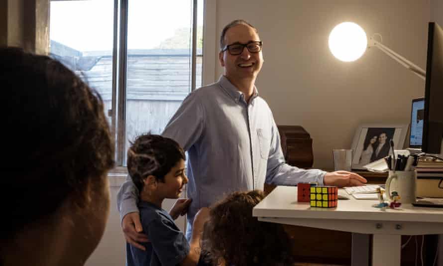 Franco Trimboli at his desk in his bedroom